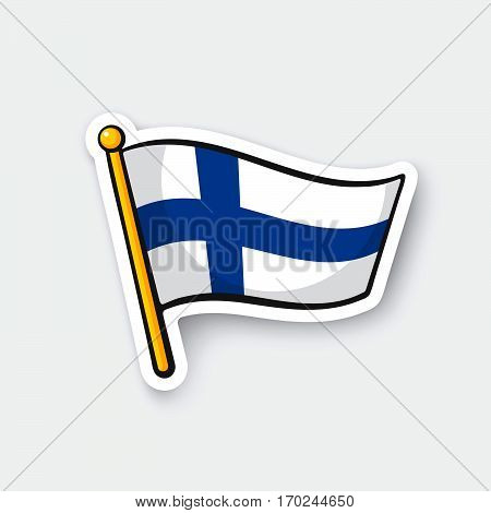 Vector illustration. Flag of Finland on flagstaff. Location symbol for travelers. Cartoon sticker with contour. Decoration for greeting cards posters patches prints for clothes emblems