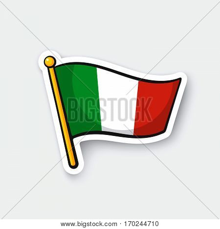 Vector illustration. Flag of Italy on flagstaff. Location symbol for travelers. Cartoon sticker with contour. Decoration for greeting cards posters patches prints for clothes emblems