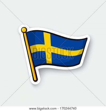 Vector illustration. Flag of Sweden on flagstaff. Location symbol for travelers. Cartoon sticker with contour. Decoration for greeting cards posters patches prints for clothes emblems