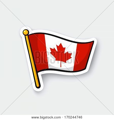 Vector illustration. Flag of Canada on flagstaff. Checkpoint symbol for travelers. Cartoon sticker with contour. Decoration for greeting cards posters patches prints for clothes emblems