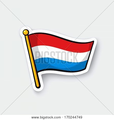 Vector illustration. Flag of Luxembourg on flagstaff. Location symbol for travelers. Cartoon sticker with contour. Decoration for greeting cards posters patches prints for clothes emblems