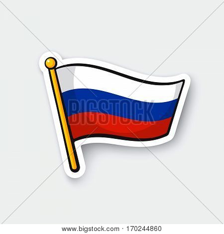 Vector illustration. Flag of Russia on flagstaff. Checkpoint symbol for travelers. Cartoon sticker with contour. Decoration for greeting cards, posters, patches, prints for clothes, emblems