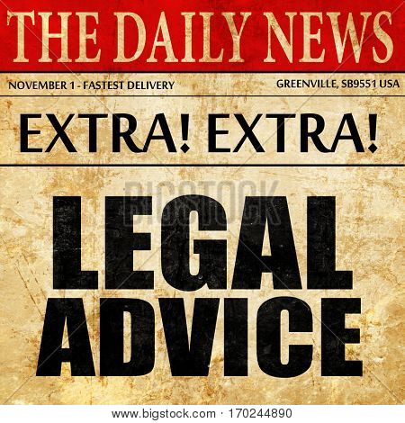 legal advice, newspaper article text