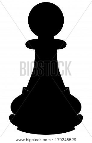 Isolated pawn piece silhouette on a white background, Vector illustration