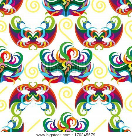 Seamless carnival masks pattern isolated on white background