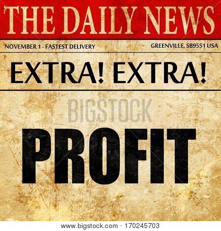 profit, newspaper article text