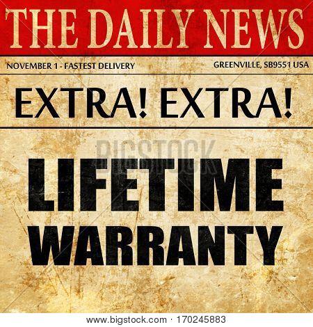 lifetime warranty, newspaper article text