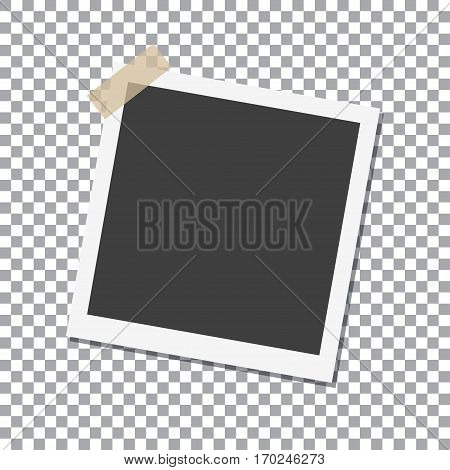 Photo Frame with shadow on Adhesive Sticky Tape Scotch on isolate background vector template for your stylish photos or images EPS10
