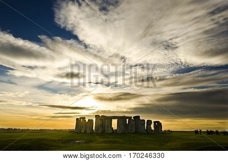 Stonehenge during the late afternoon partly cloudy