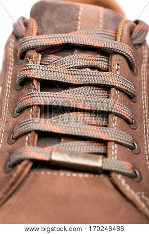 Men Brown Shoes Hiking Boot laces high quality and high resolution studio shoot