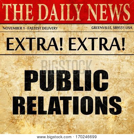 public relations, newspaper article text