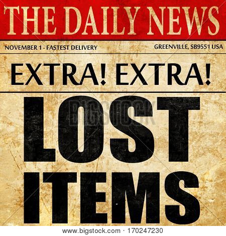 lost items, newspaper article text