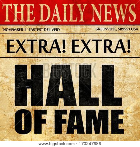 hall of fame, newspaper article text