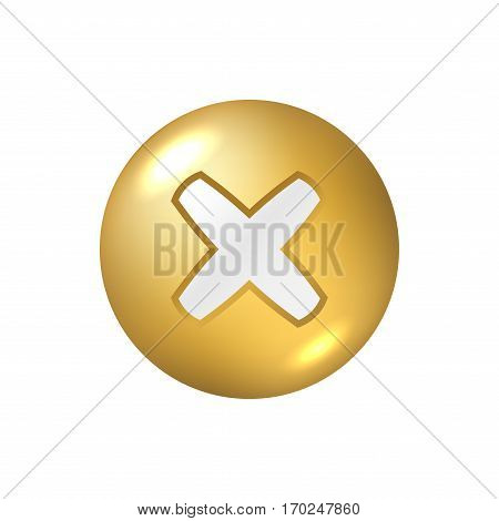 Cross Sign Gold Element