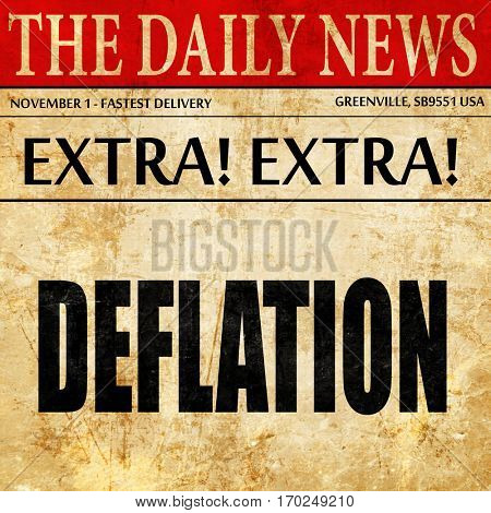 Deflation sign background, newspaper article text