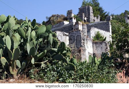 Ruins Of Abondoned House In Ghost Town Of Kayakoy (turkey)
