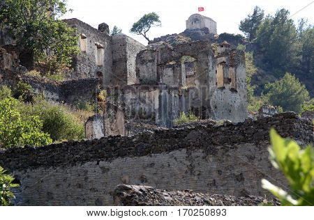 Ghost town of Kayakoy (Turkey) vv v