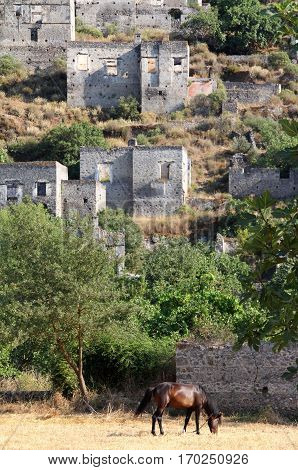 Ghost town of Kayakoy (Turkey) view outdoor
