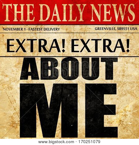 about me, newspaper article text