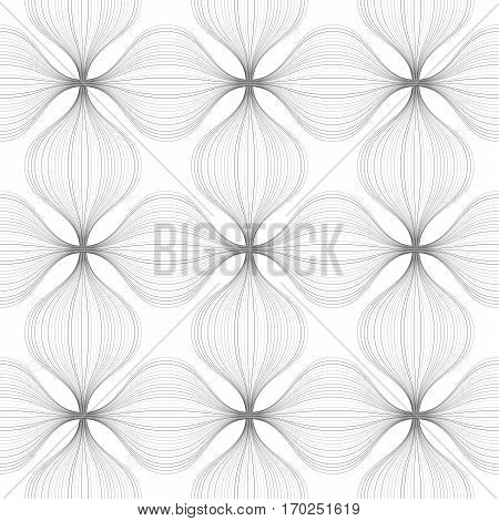 Abstract Geometric Seamless Pattern Of Gray Distorted Lines.