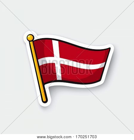 Vector illustration. Flag of Denmark on flagstaff. Location symbol for travelers. Cartoon sticker with contour. Decoration for greeting cards posters patches prints for clothes emblems