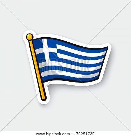 Vector illustration. Flag of Greece on flagstaff. Location symbol for travelers. Cartoon sticker with contour. Decoration for greeting cards posters patches prints for clothes emblems