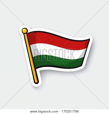 Vector illustration. Flag of Hungary on flagstaff. Location symbol for travelers. Cartoon sticker with contour. Decoration for greeting cards posters patches prints for clothes emblems