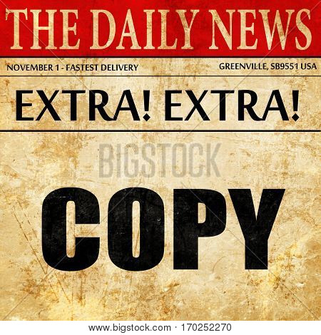 copy sign background, newspaper article text