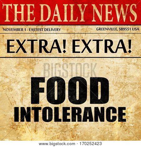 food intolerance, newspaper article text