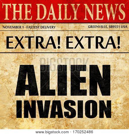 alien invasion, newspaper article text