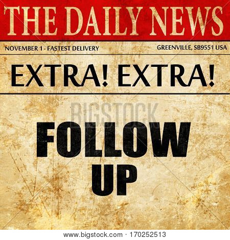 follow up, newspaper article text