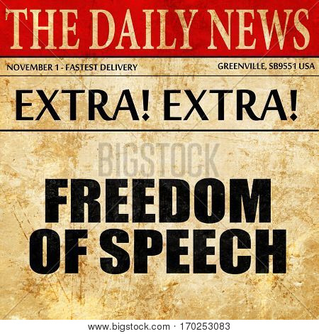 freedom of speech, newspaper article text