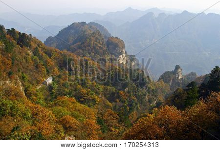 Scenic autumn landscape in Wudang mountains Hubei province China