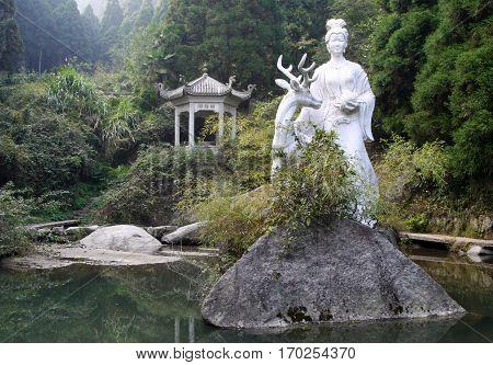 Statue of Magu (symbolic protector of females in Chinese mythology) Heng mountains China