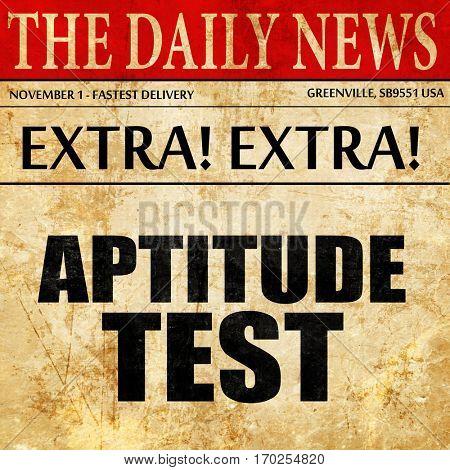aptitude test, newspaper article text