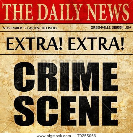 crime scene, newspaper article text