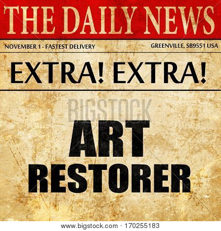 art restorer, newspaper article text