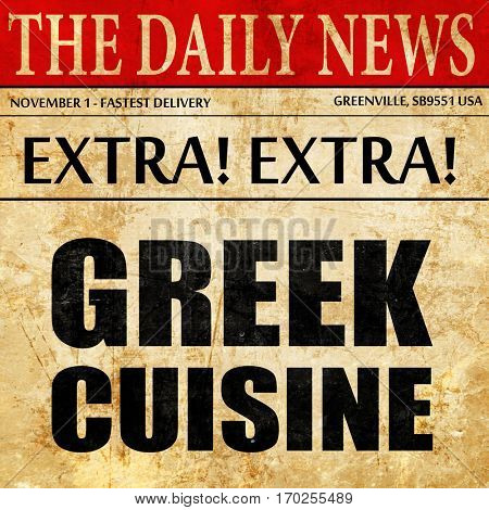 greek cuisine, newspaper article text