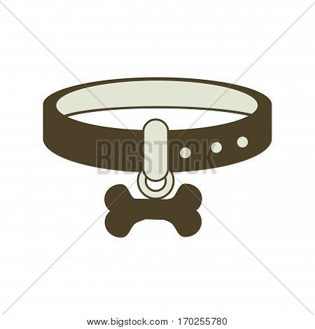necklace dog with bone vector illustration design