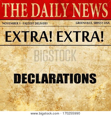 declarations, newspaper article text