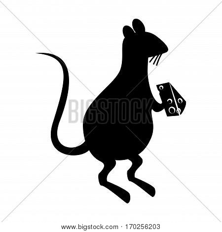 rat eating cheese silhouette vector illustration design