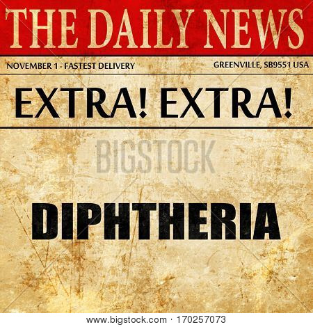 diphtheria, newspaper article text