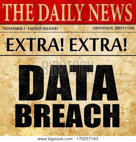 data breach, newspaper article text