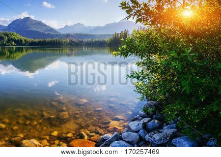 Majestic mountain lake in National Park High Tatra. Strbske pleso, Slovakia, Europe.