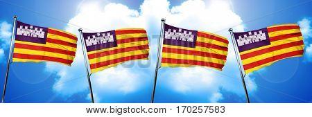 Balearic islands, iles baleares flag, 3D rendering