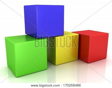 four colorful 3d cubes, block box shape