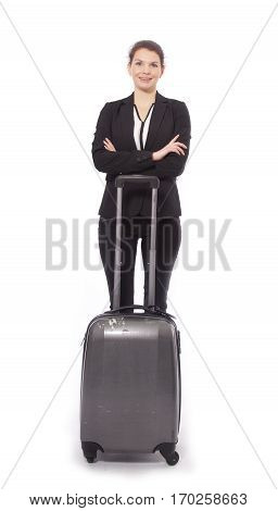 Young businesswoman with suitcase isolated on white background
