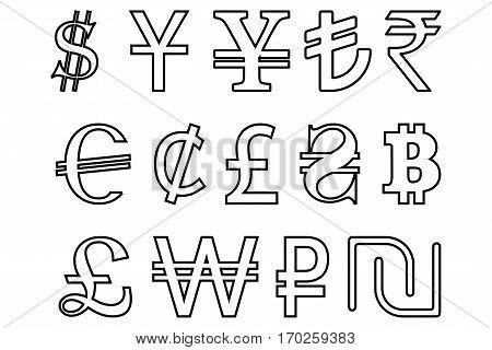 Set symbols of the leading world currencies vector illustration , currencies symbols