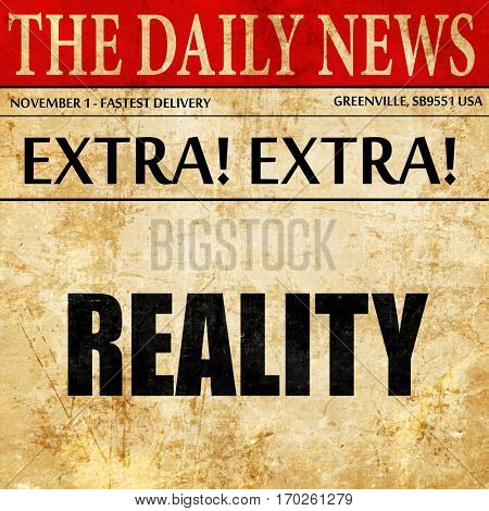 reality, newspaper article text