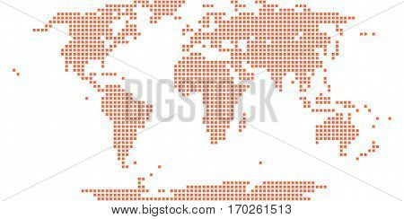 Use it in all your designs. World map atlas background in flat dot style in square shapes. Quick and easy recolorable shape. Vector illustration a graphic element